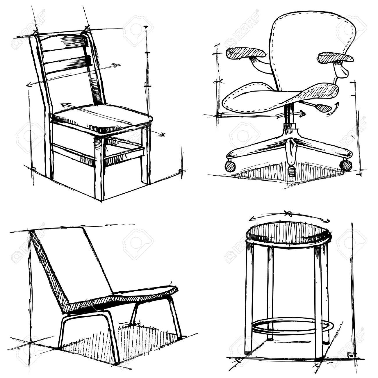 Modern Furniture Drawings chairs drawings royalty free cliparts, vectors, and stock