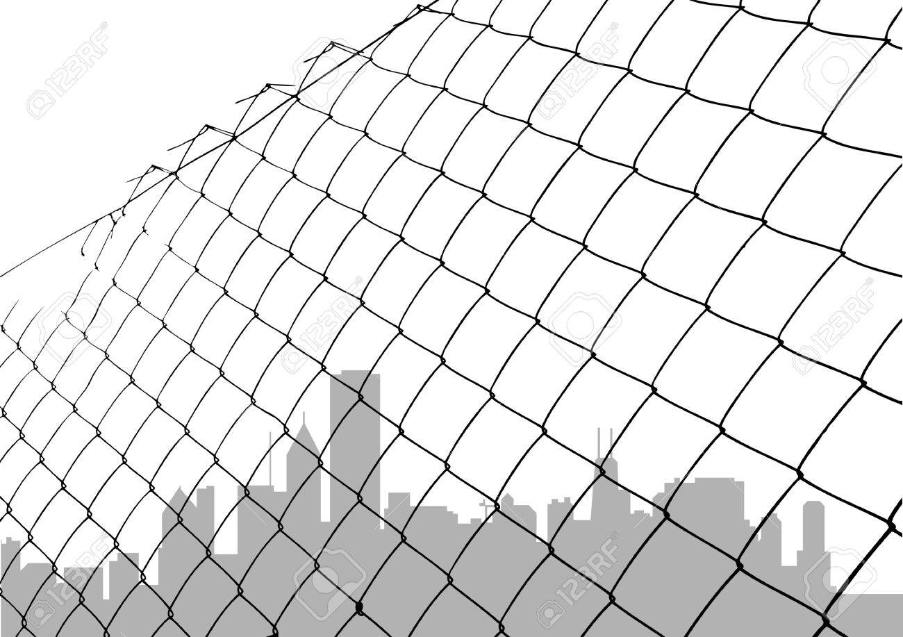 Chain Link Fence Vector With Chain Link Fence With City Silhouette Stock Vector 8764892 Chain Link Fence With City Silhouette Royalty Free Cliparts Vectors