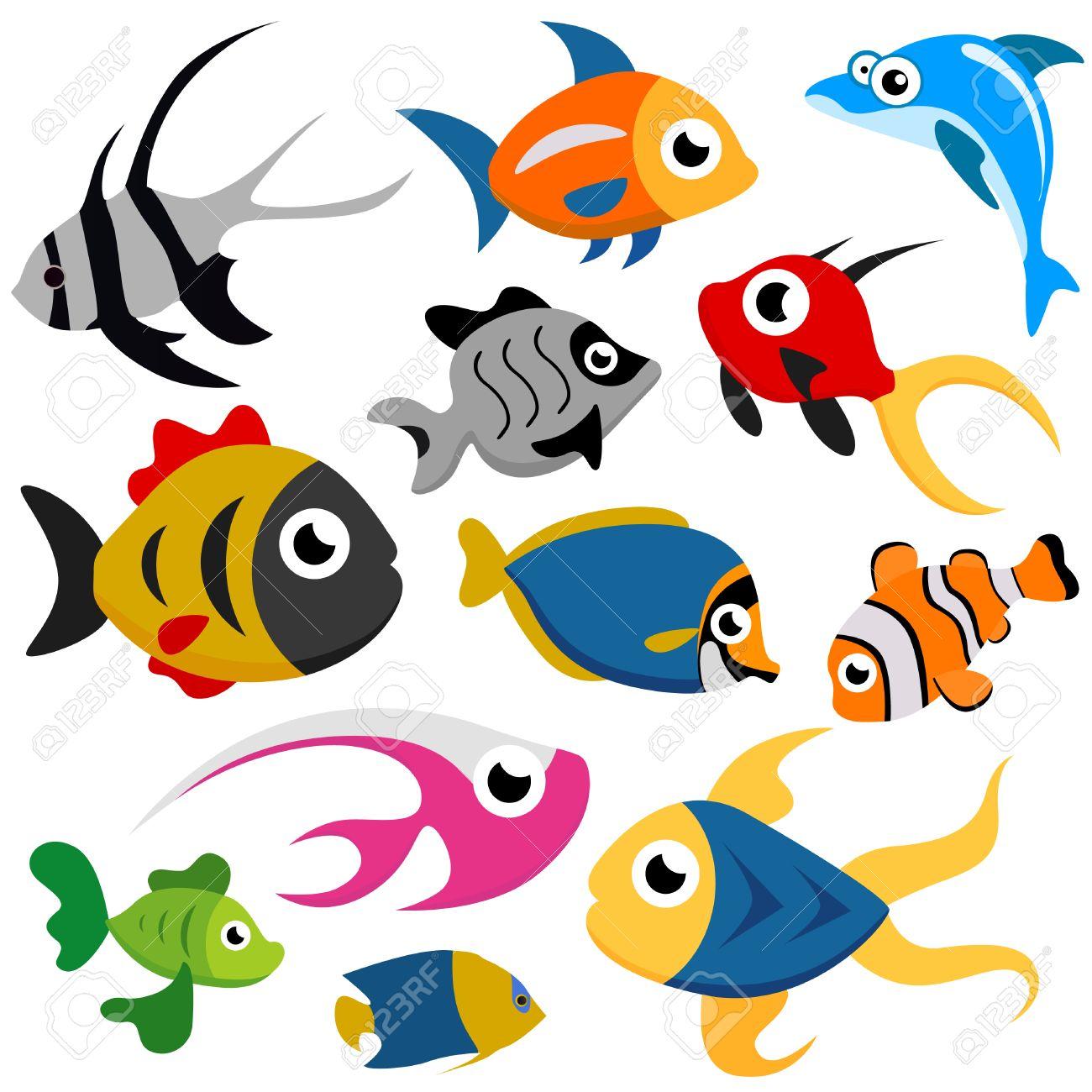Banco Peces Dibujo de Dibujos Animados Peces