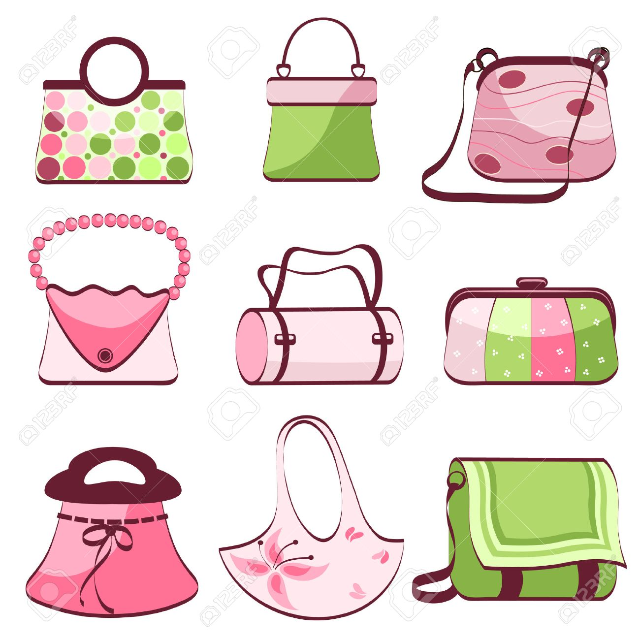 Set Woman s Bags Vector Royalty Free Cliparts, Vectors, And Stock ... 8dc0af02df