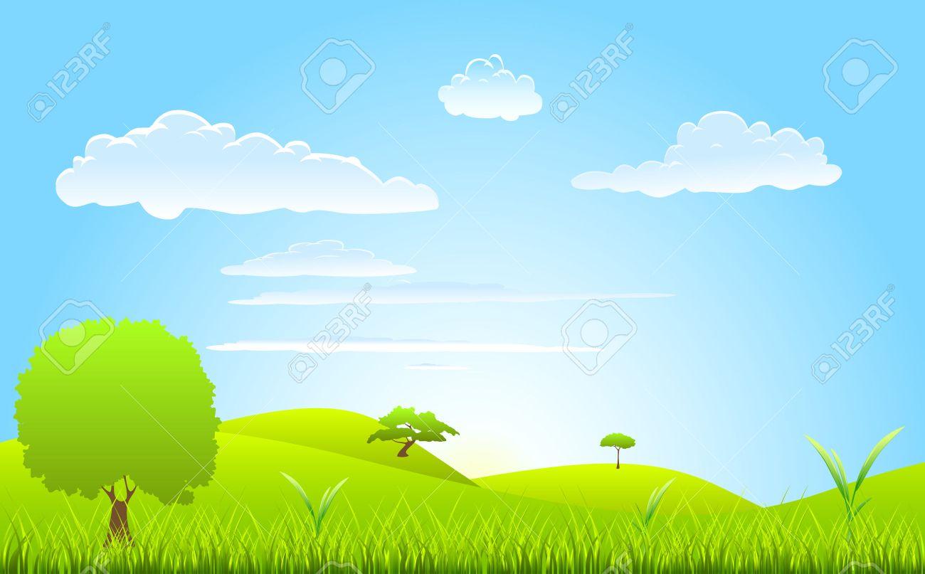 landscape spring scene Stock Vector - 8967159