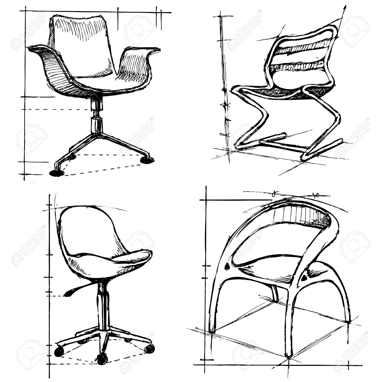 chairs drawings Stock Vector - 8967147  sc 1 st  123RF.com & Chairs Drawings Royalty Free Cliparts Vectors And Stock ...