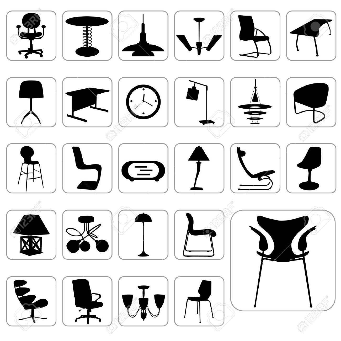 Furniture Icon Set Stock Vector
