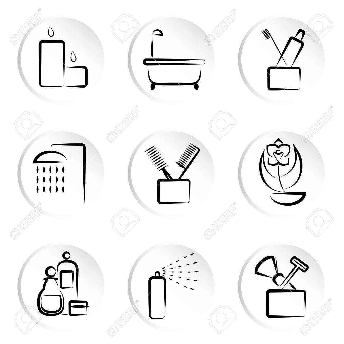 bathroom icons Stock Vector - 9060022