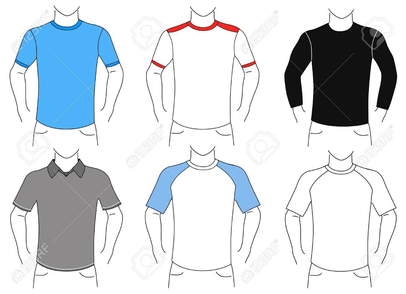 blank t shirt set (man) Stock Vector - 9060159