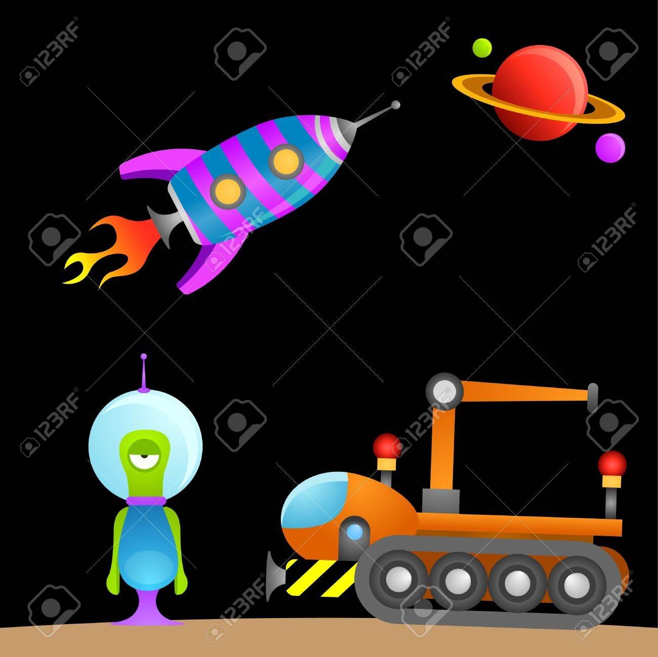 cartoon alien and space Stock Vector - 9148391
