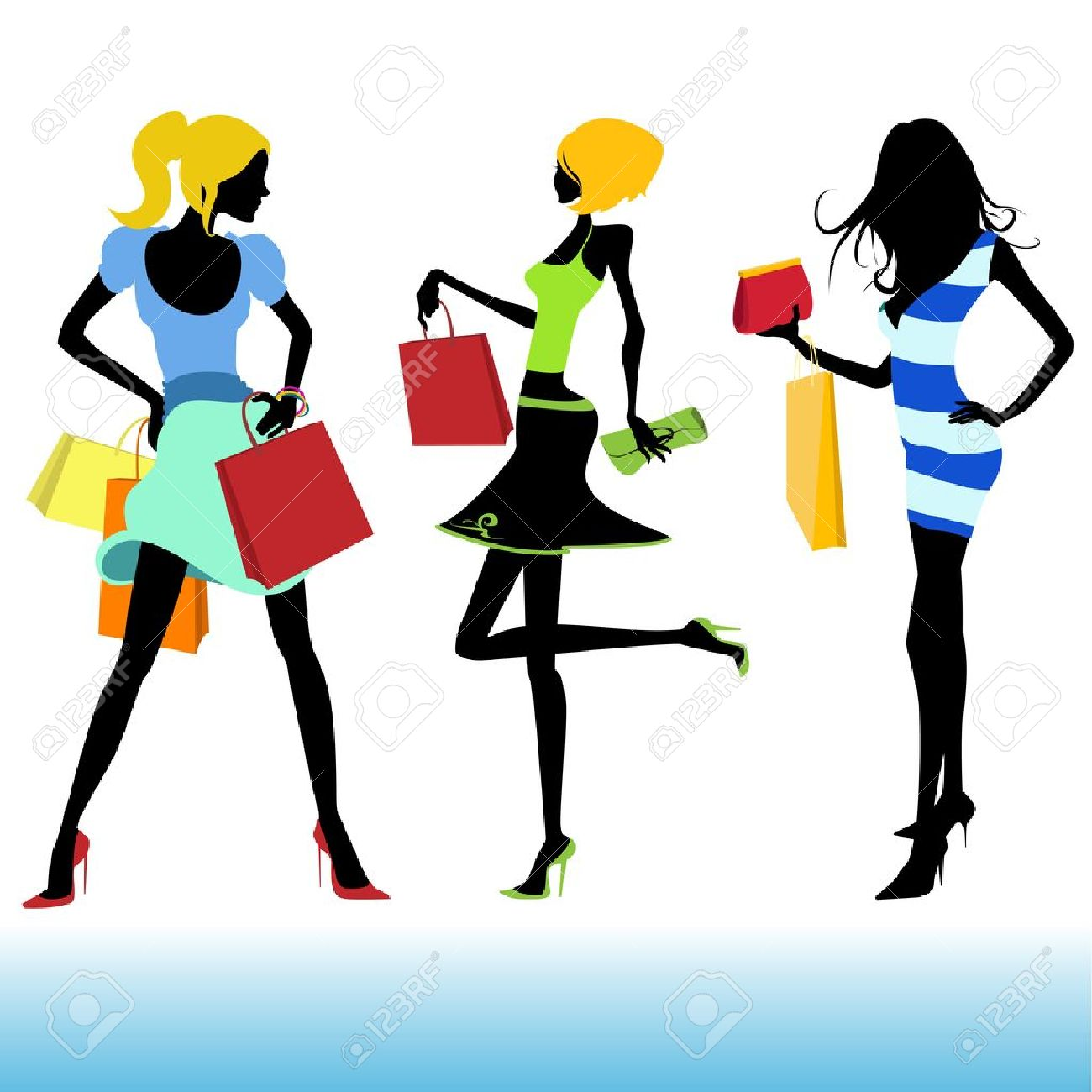 shopping girl illustration - 9315659