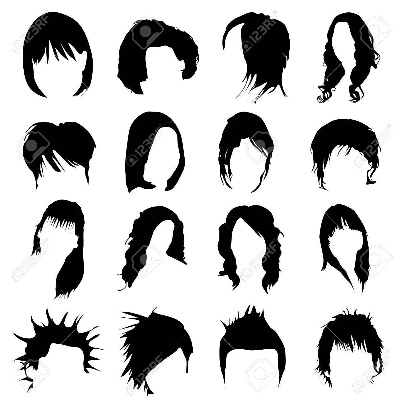 hair design vector (women and men) Stock Vector - 9345655