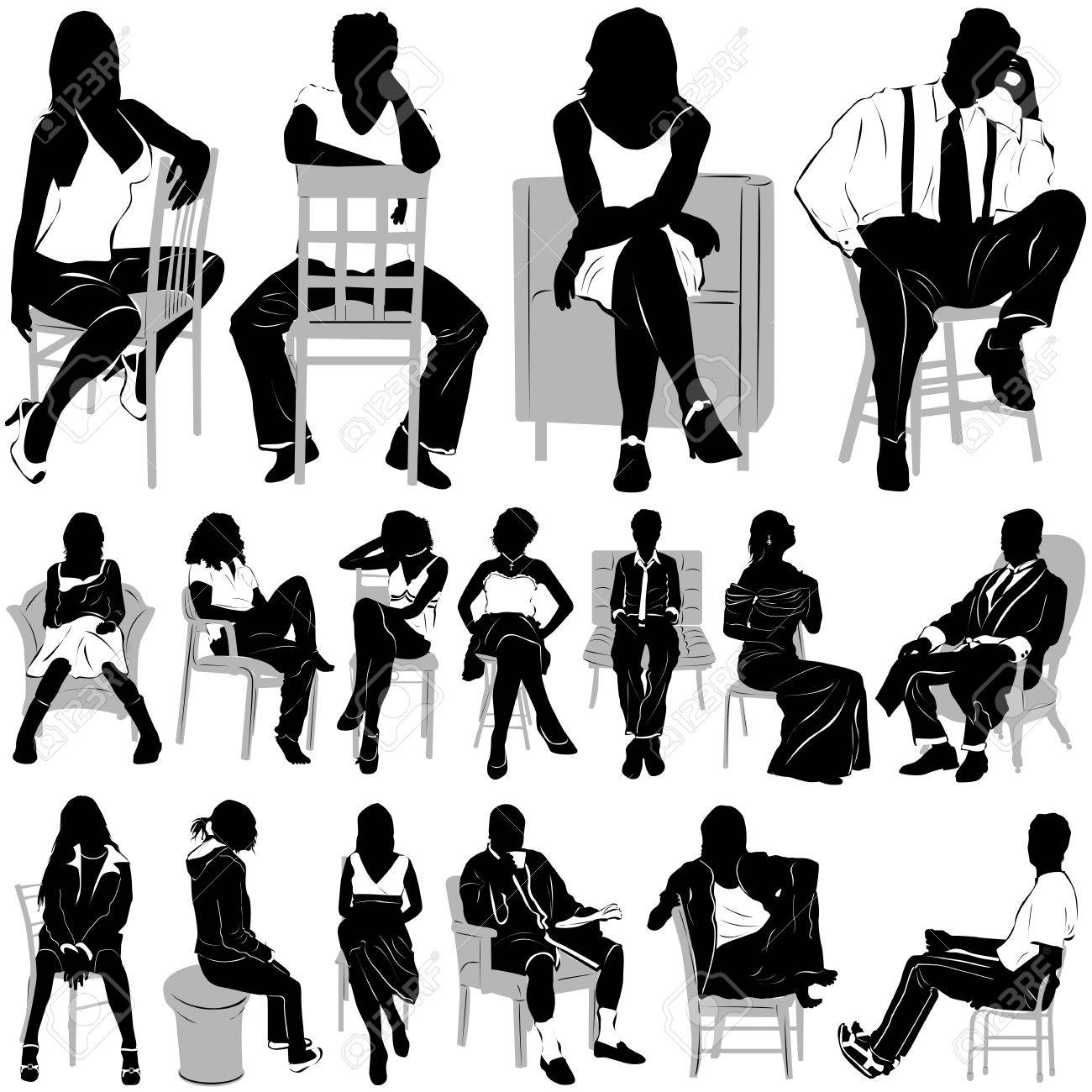 sitting people Stock Vector - 9401750