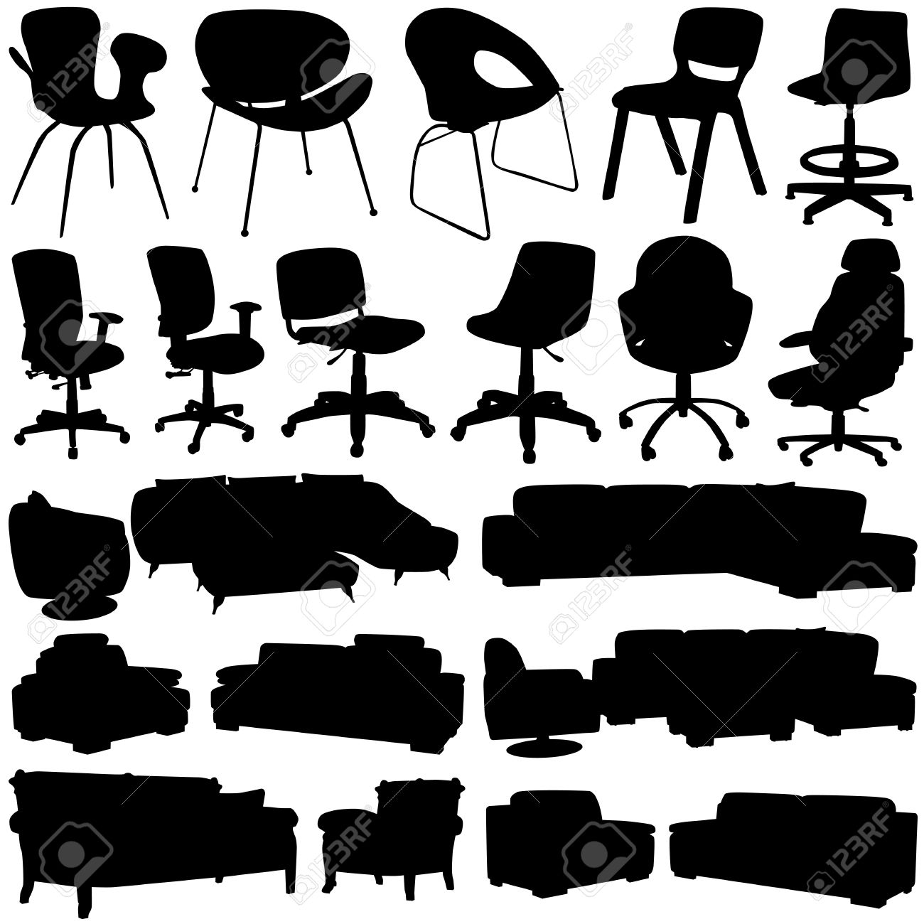 Modern Office Chair And Armchair (interior Design Objects) Royalty ...