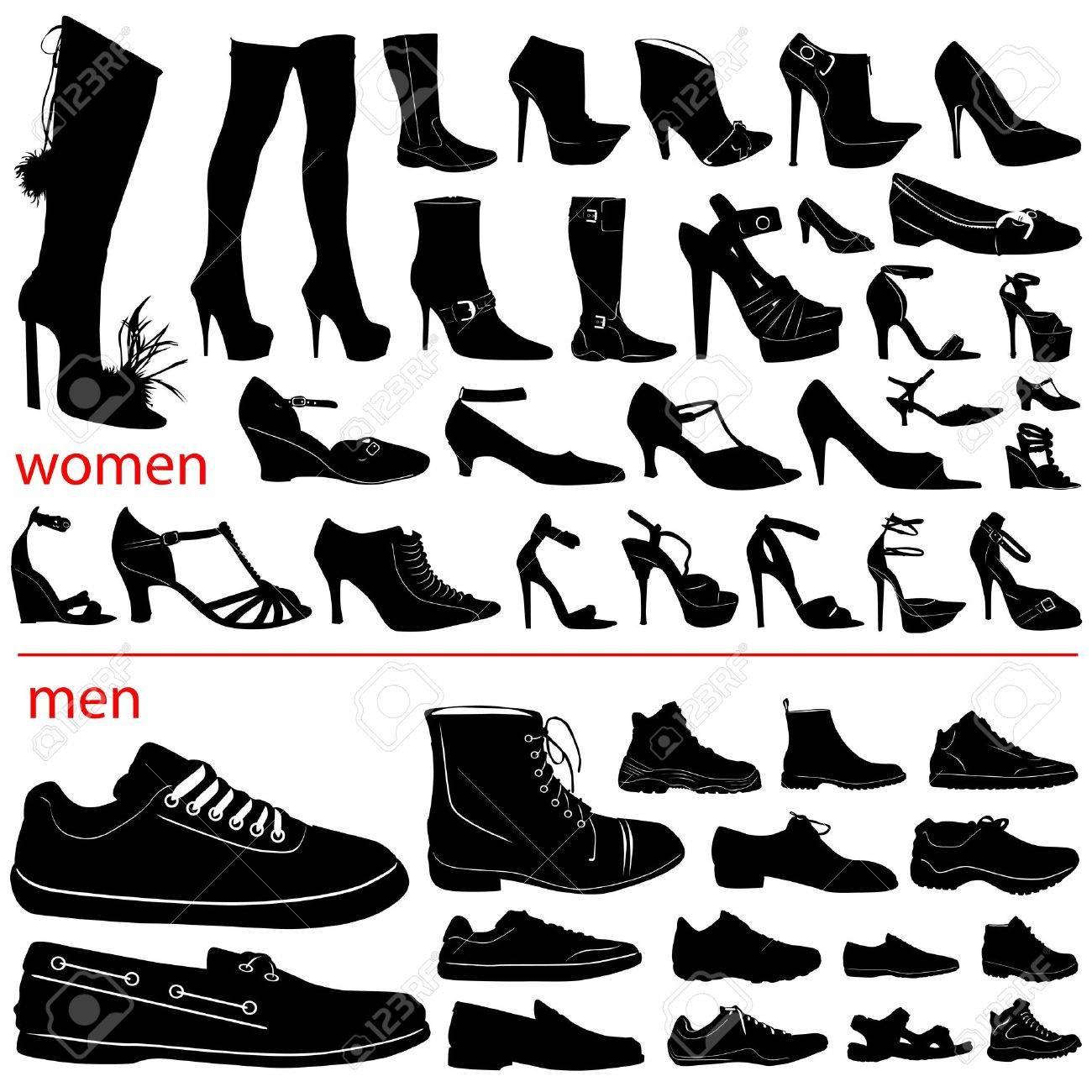 women and men shoes vector Stock Vector - 9505707