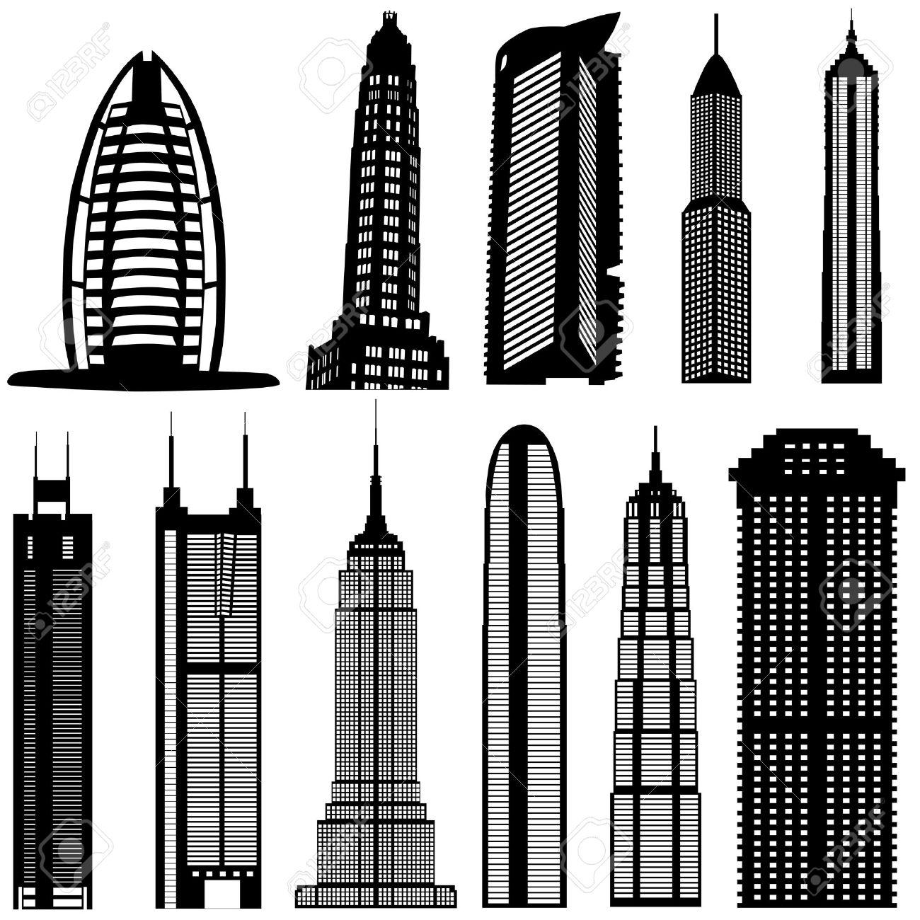 skyscraper buildings vector royalty free cliparts vectors and rh 123rf com skyscraper silhouette vector skyscraper silhouette vector