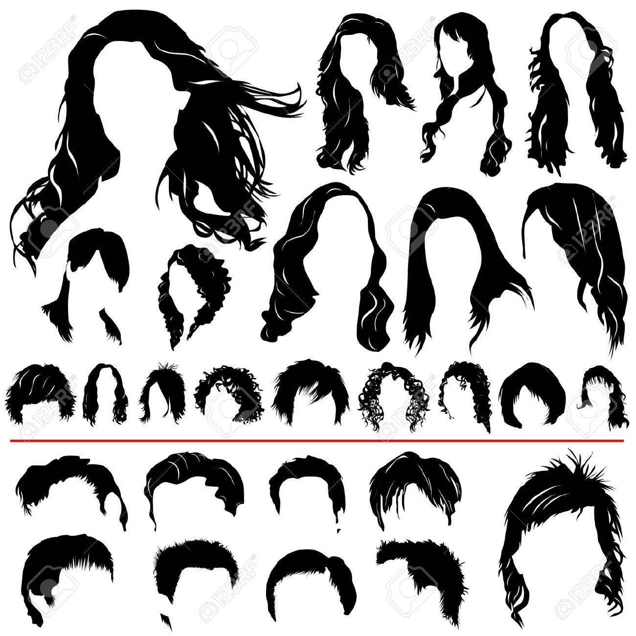women and men hair vector (different style) Stock Vector - 9592751