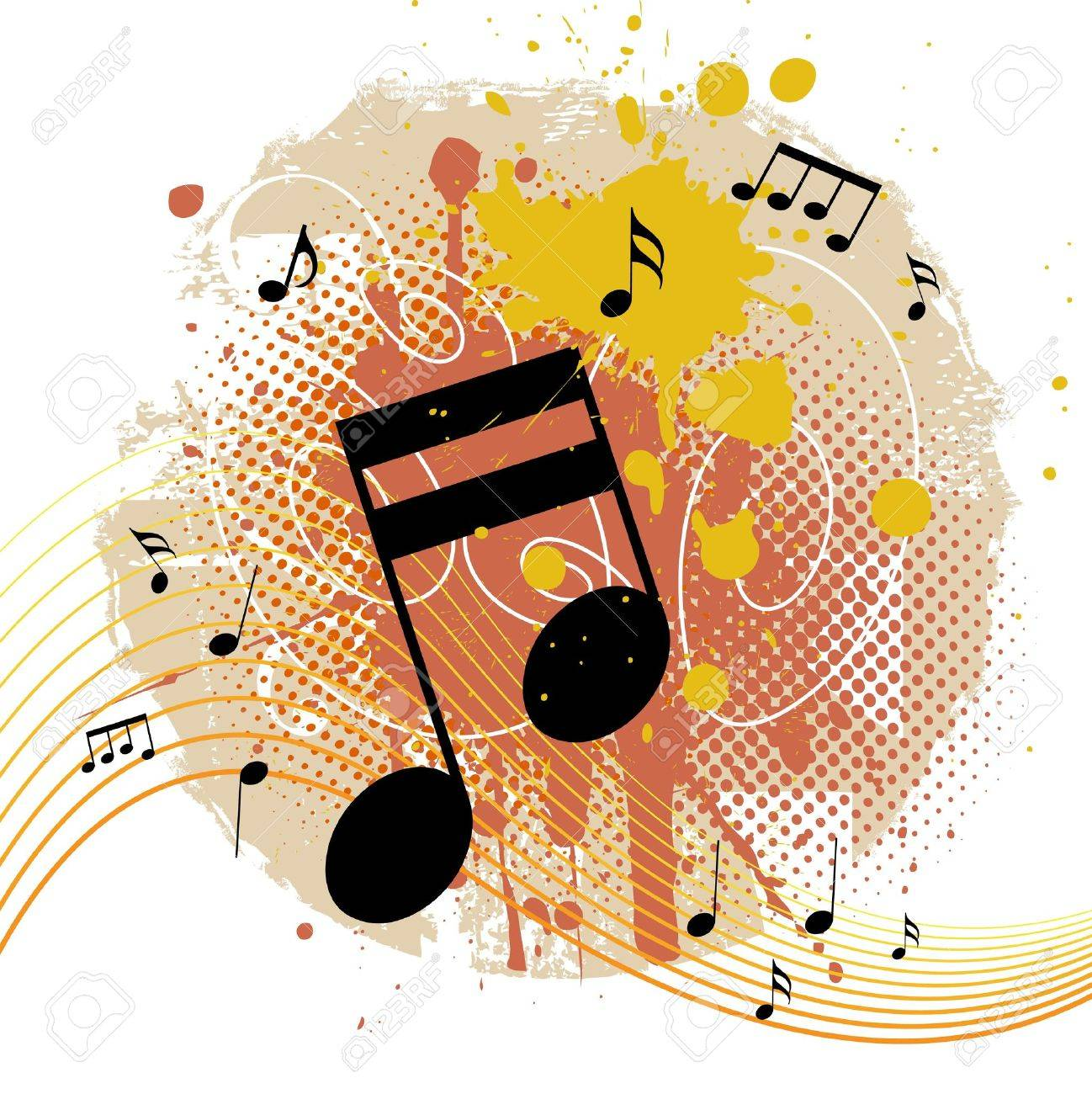 Grunge Background With Tunes Stock Vector