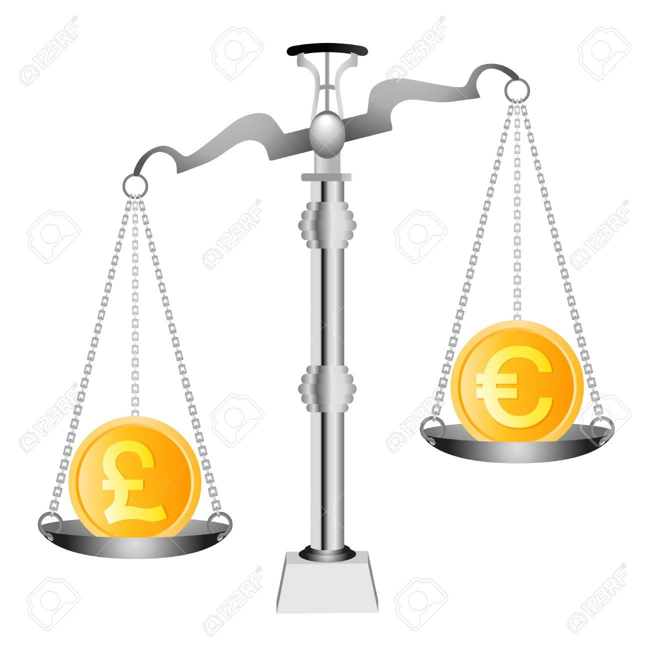 Pound and Euro on scales Stock Vector - 9878291