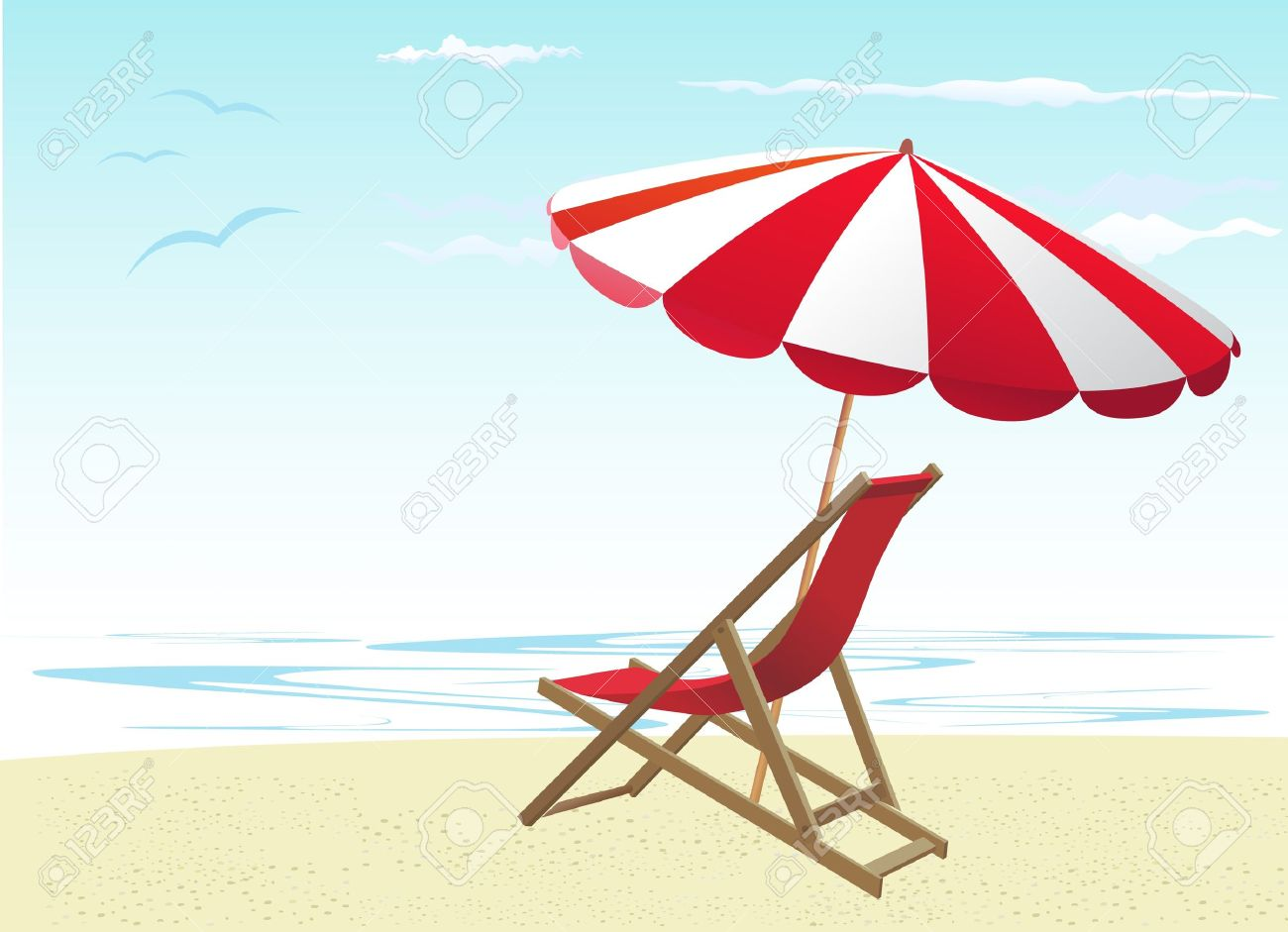 Beach chairs and umbrella Stock Vector - 10182917  sc 1 st  123RF.com & Beach Chairs And Umbrella Royalty Free Cliparts Vectors And Stock ...