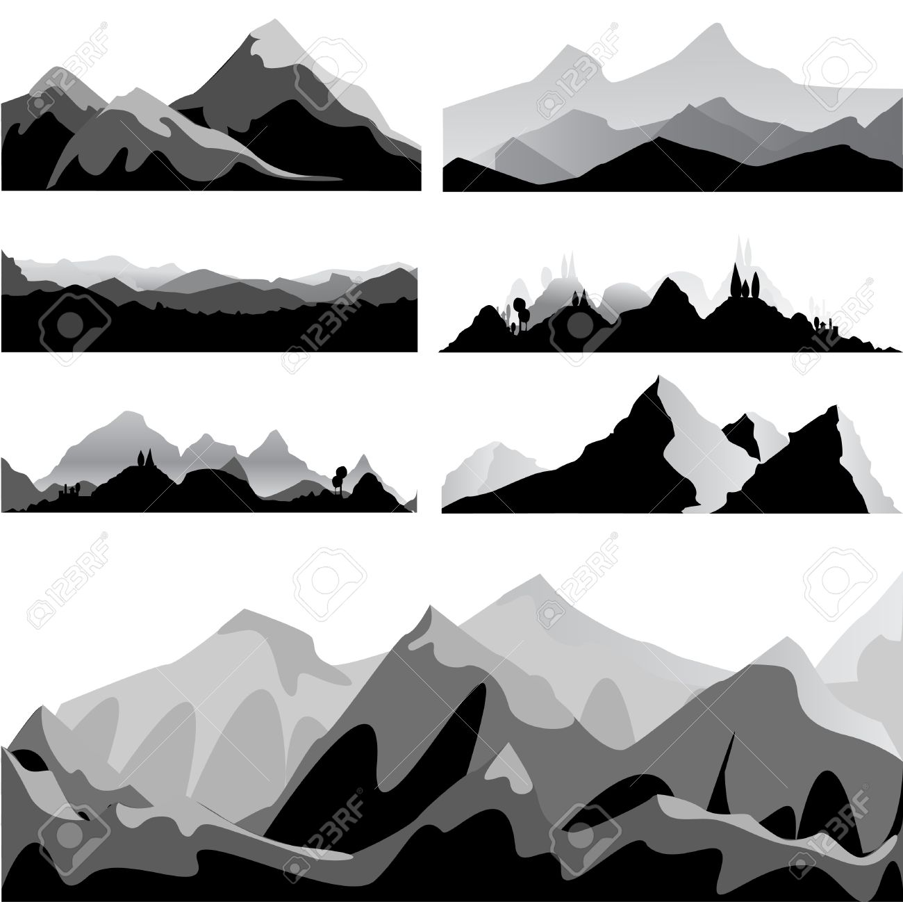 Mountain Silhouette mountain set royalty free cliparts, vectors, and stock