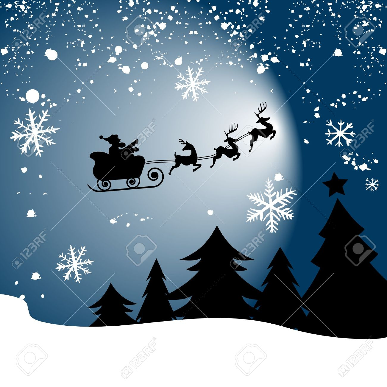 santa claus on sledge with deer Stock Vector - 10854420