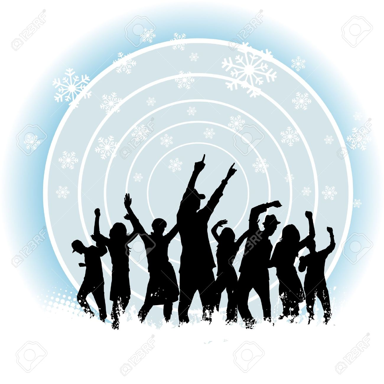 Party People And Winter Background Stock Vector