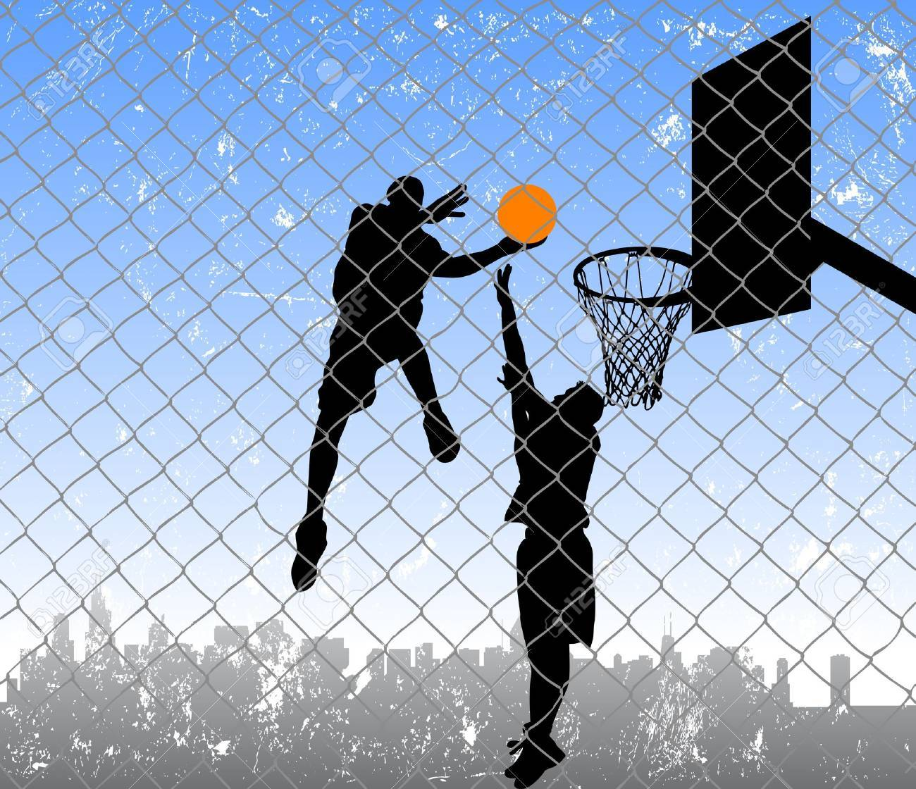 basketball in the street Stock Vector - 12285437