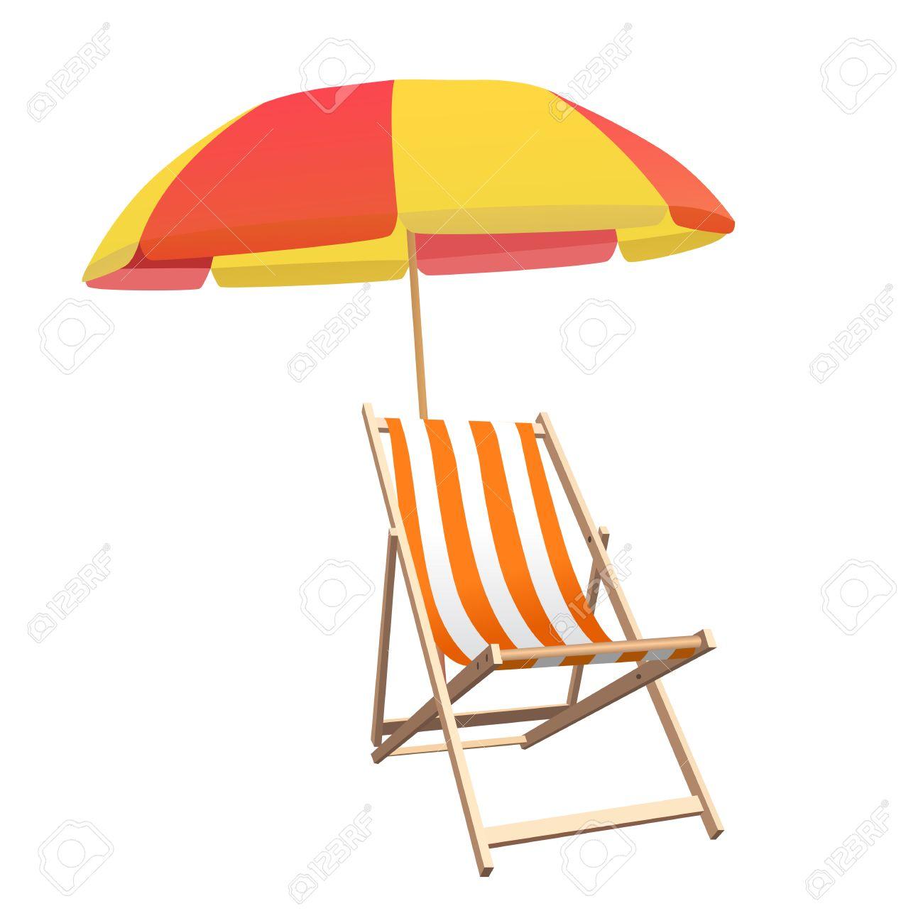 Beach umbrella and chair - Beach Umbrella Chair And Beach Umbrella Vector