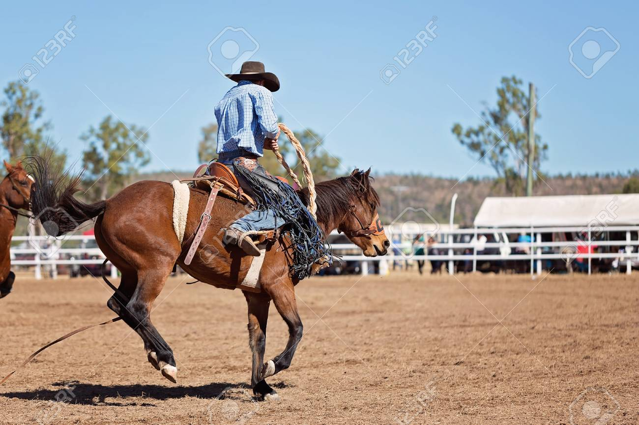 Cowboy riding a bucking bronco horse in a competition at a country rodeo stock photo