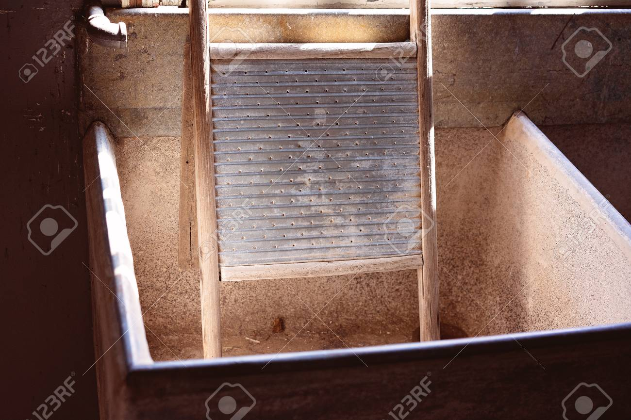 Ancient wash board used for laundering clothes during the gold