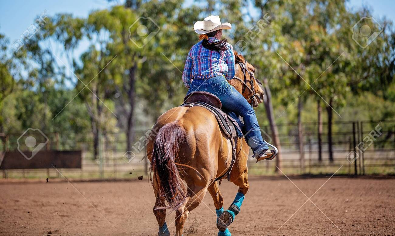 Female Equestrian Competing In Barrel Racing In Dusty Arena At Stock Photo Picture And Royalty Free Image Image 128283603