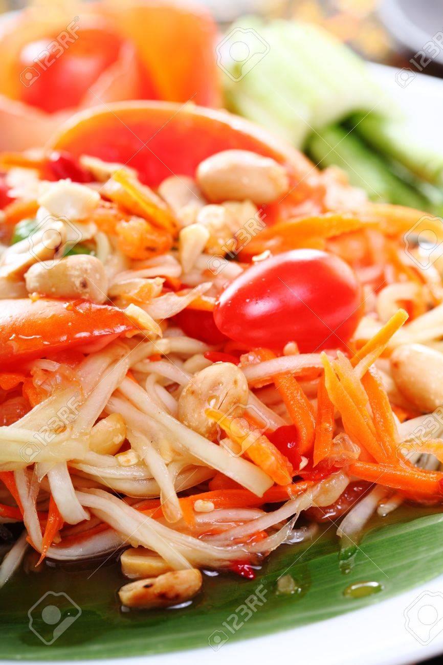 Closeup Thai papaya spicy salad, Som Tum Thai Stock Photo - 22110644