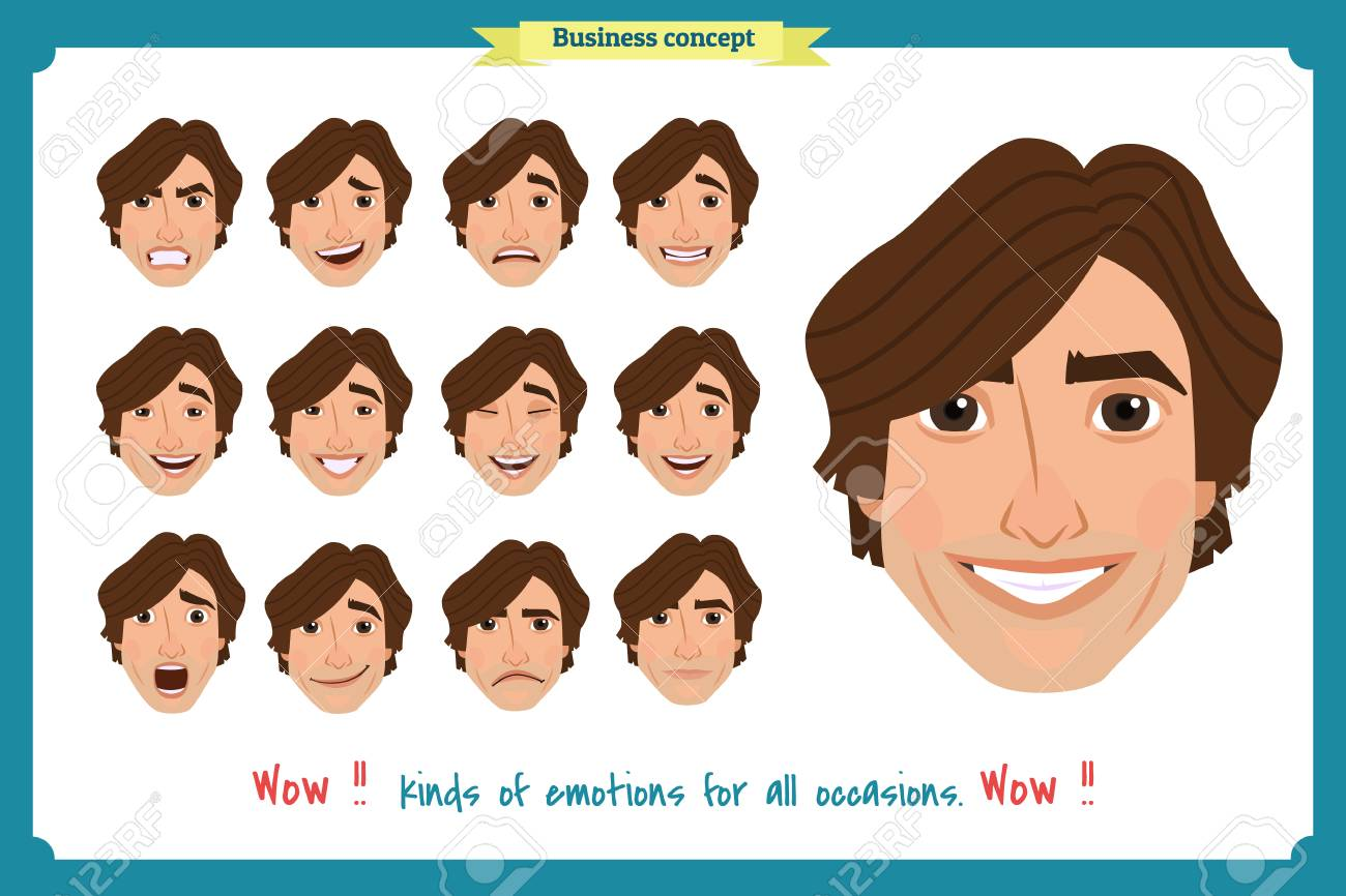Set of male facial emotions. young man emoji character with different..