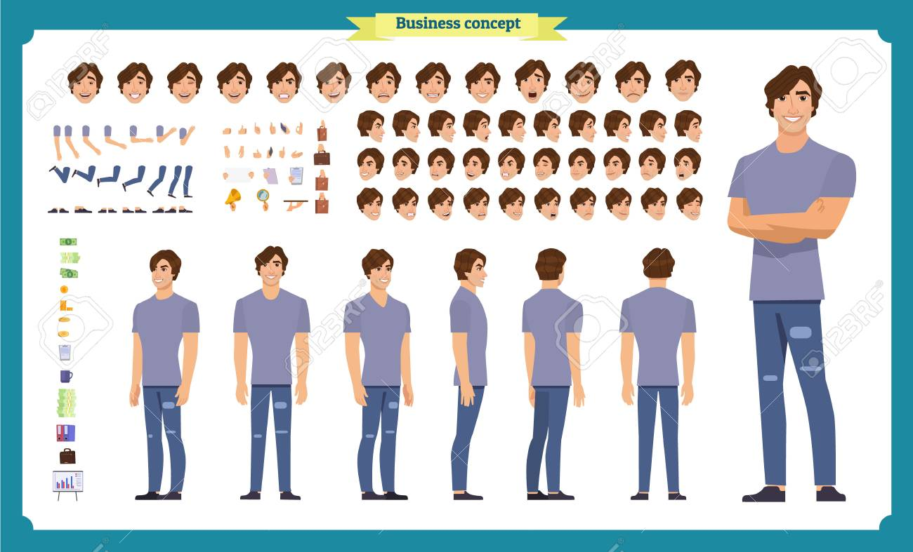 Young man in casual clothes. Character creation set. Full length, different views, emotions, gestures, isolated against white background. Build your own design. Cartoon flat-style vector illustration - 107483785