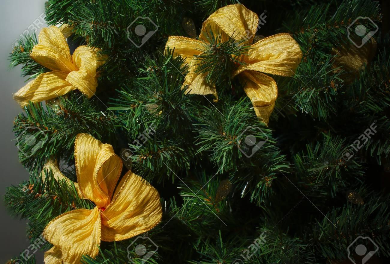 Merry Christmas Tree Decoration Golden Ribbon Garland Green Fir