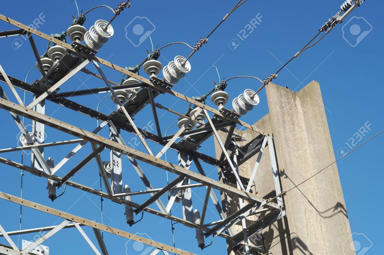 High Voltage Power Plant Electricity Distribution Wire Stock Photo ...