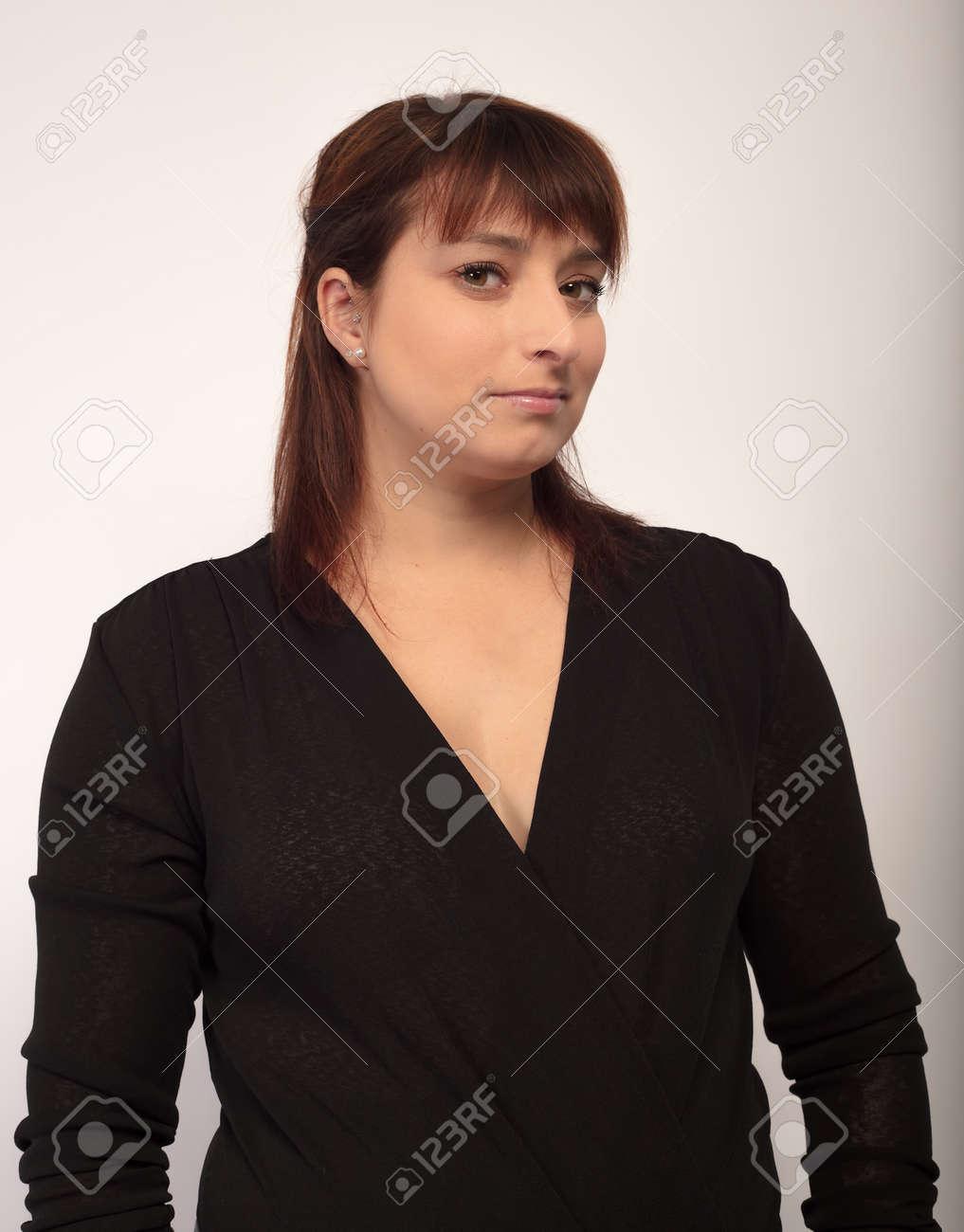 business portrait woman in black dress vertical businesswoman in studio - 158723248