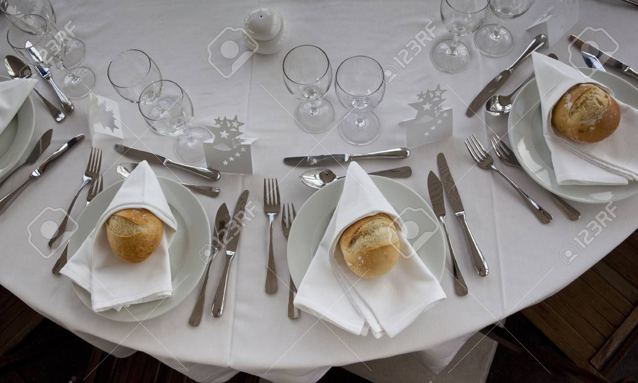 Restaurant table setup - Stock Photo Table Set Up In A Luxury Restaurant