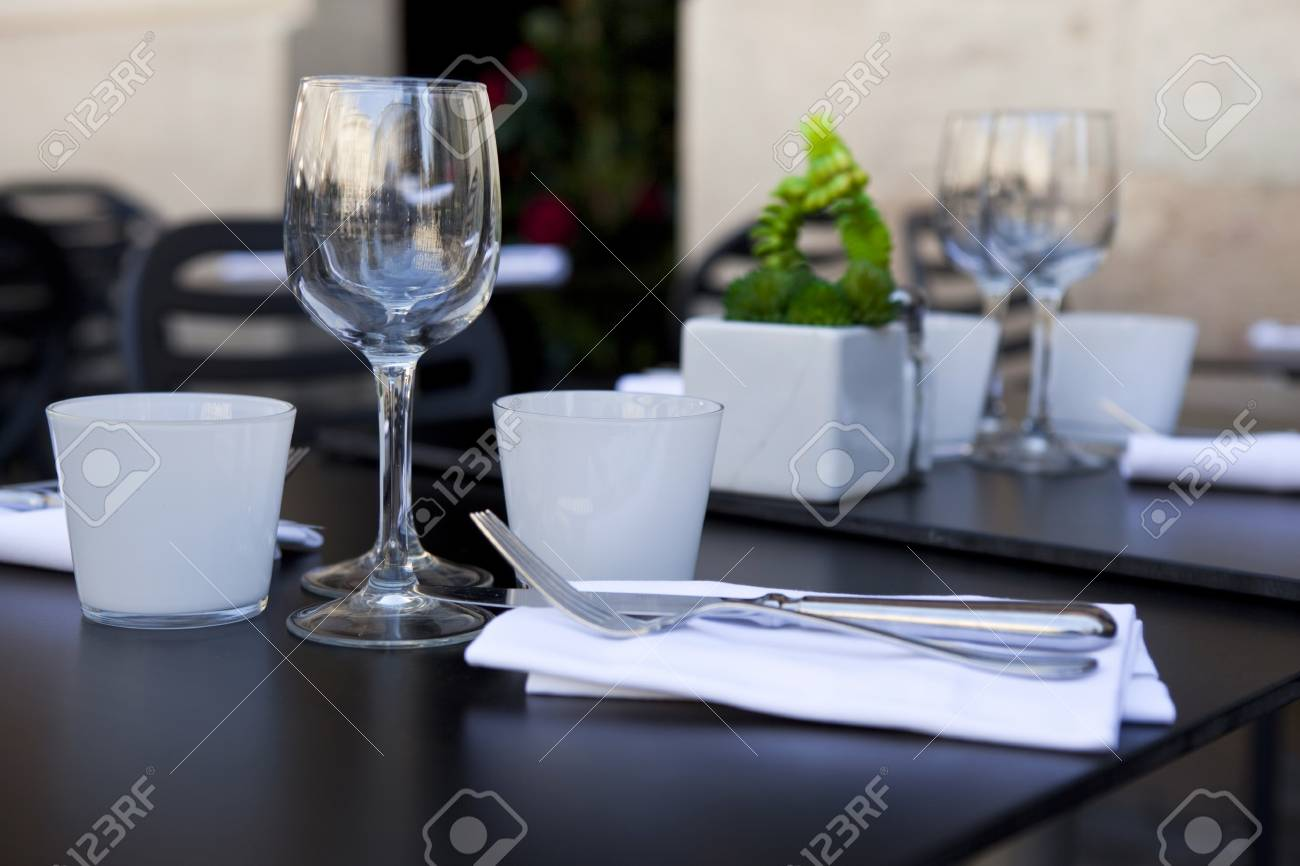 Stock Photo - Table set up in a French restaurant & Table Set Up In A French Restaurant Stock Photo Picture And Royalty ...
