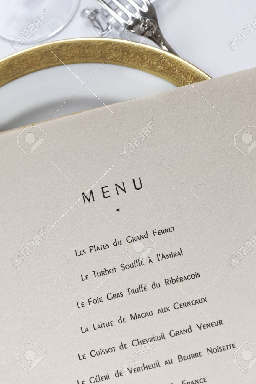 65396fb85e52 Details of a classic French menu in a luxury restaurant Stock Photo -  81775867