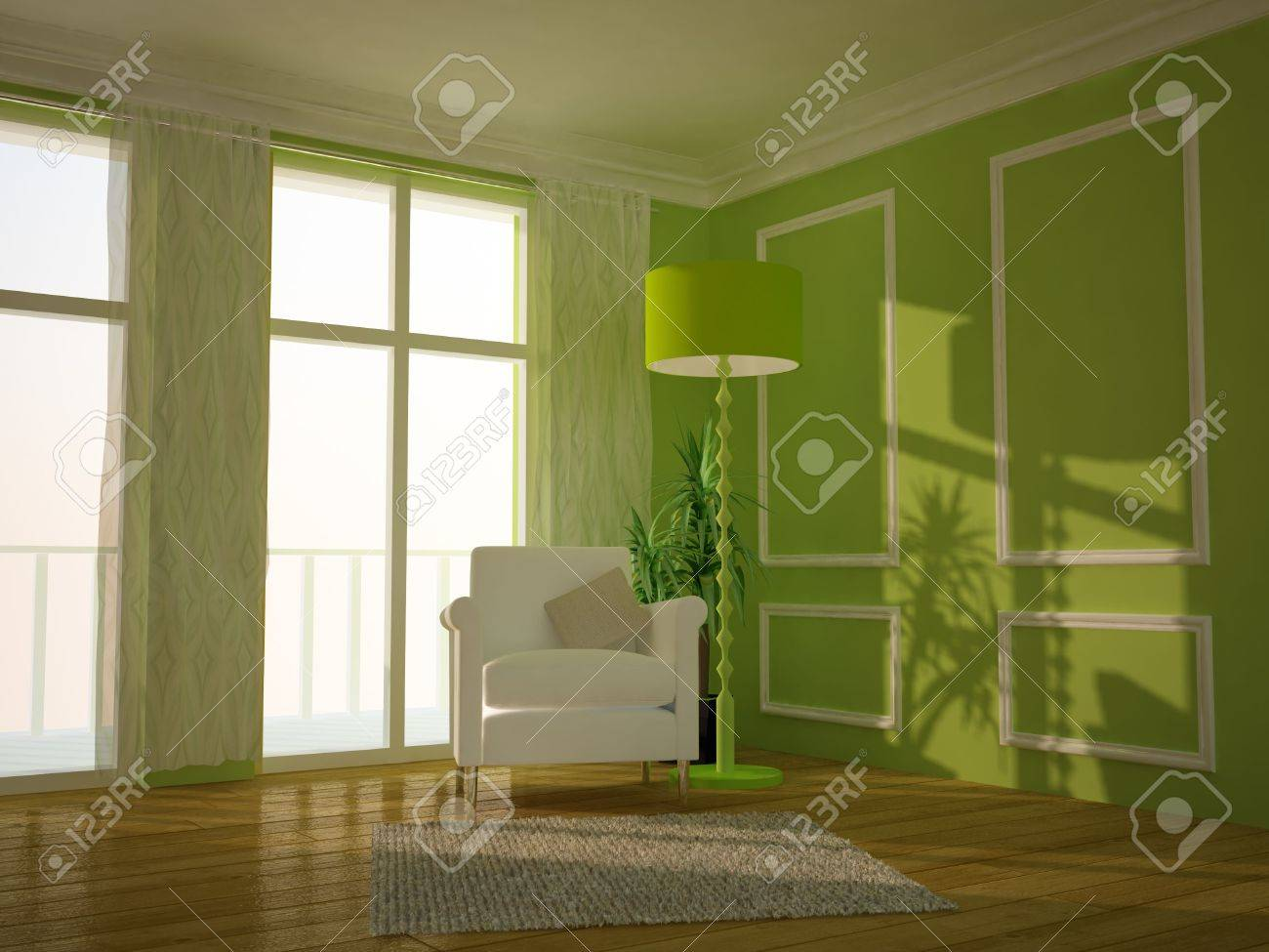 Modern Lounge Room Painted Green Stock Photo, Picture And Royalty ...