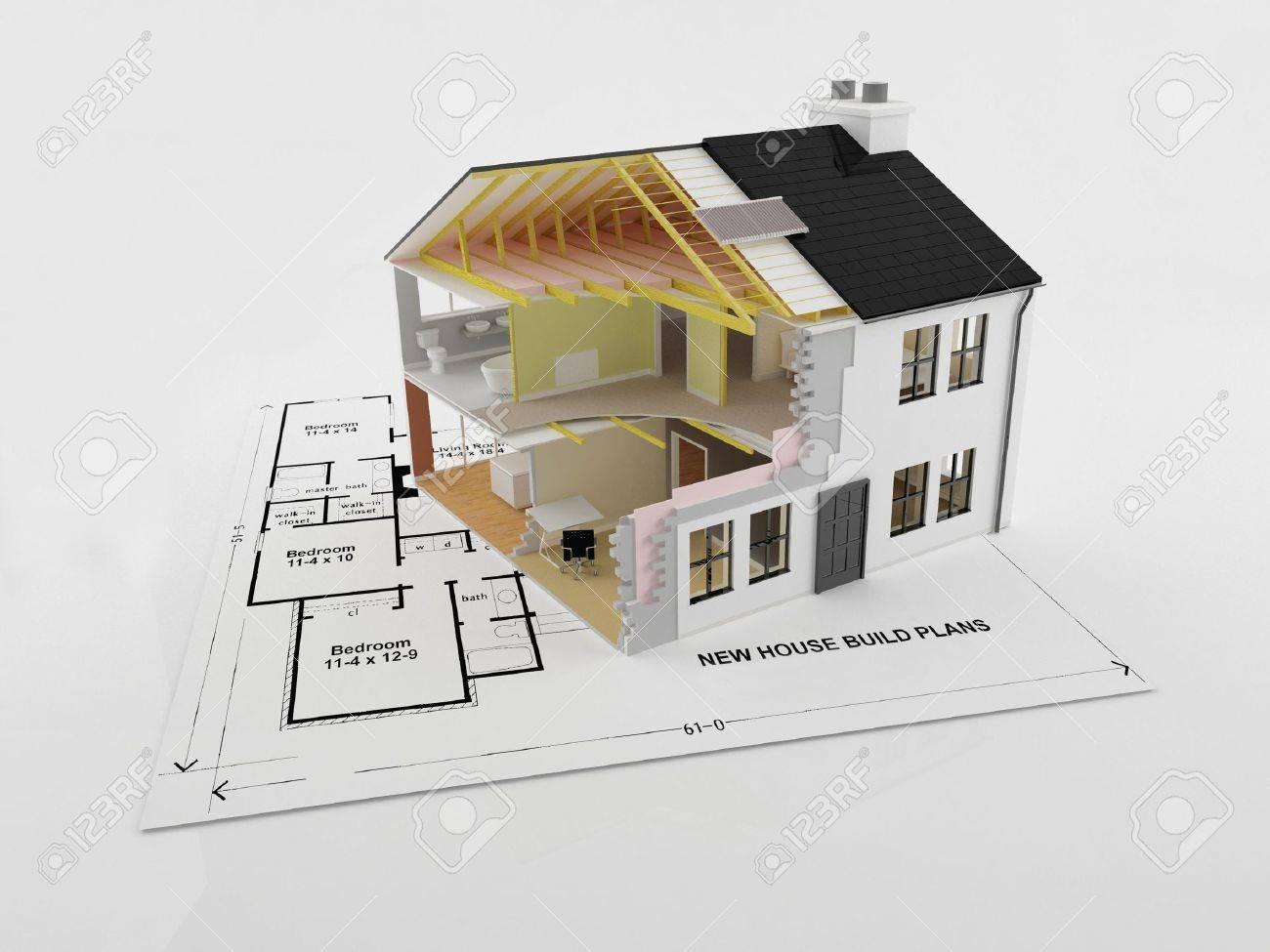 Een Nieuw Huis : Abstracte doorsnede afbeelding van een nieuw energie efficiënt nieuw