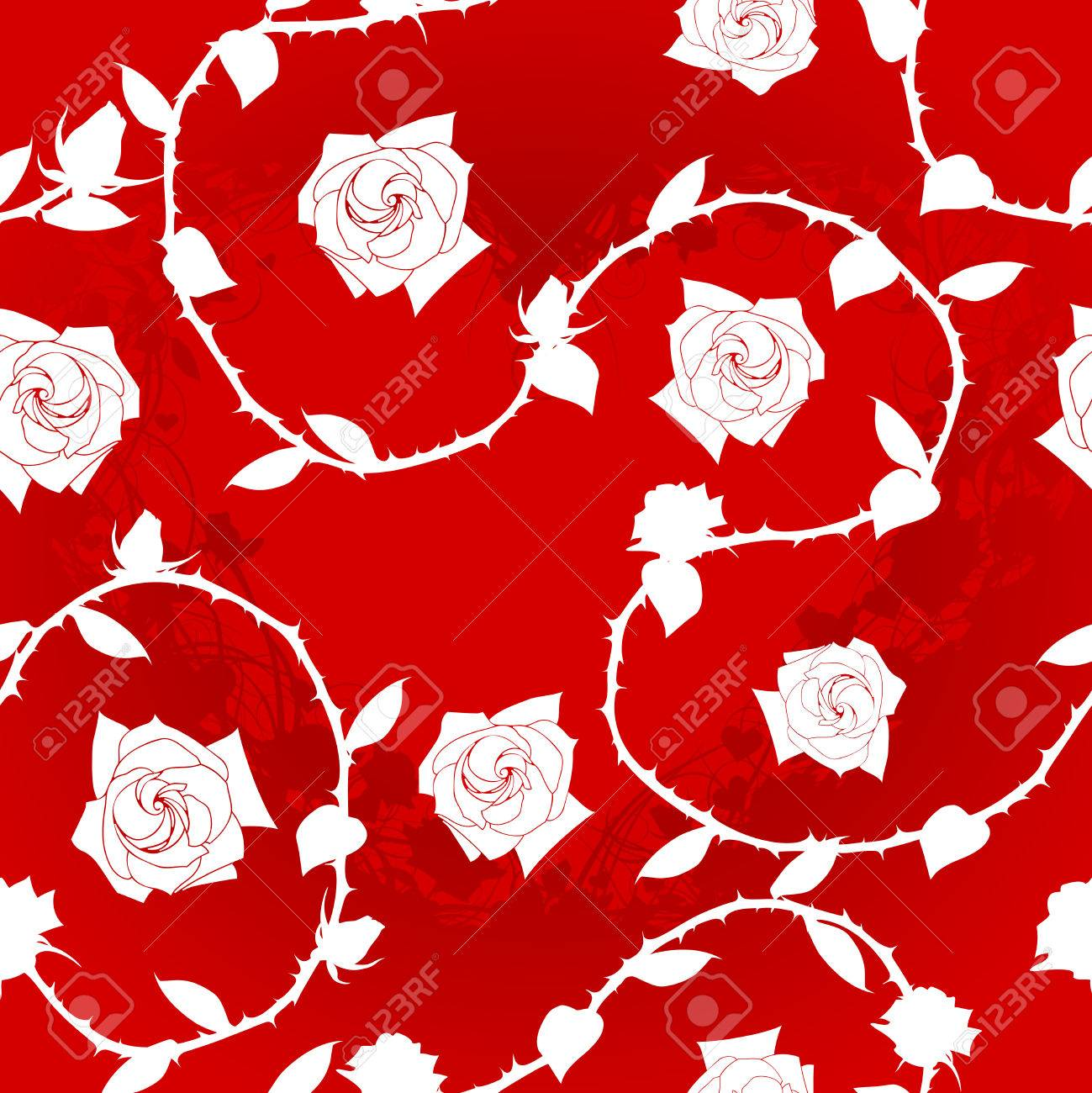 White-on-Red seamless rose sari pattern. The tiles can be combined seamlessly. Graphics are grouped and in several layers for easy editing. The file can be scaled to any size Stock Vector - 4024556