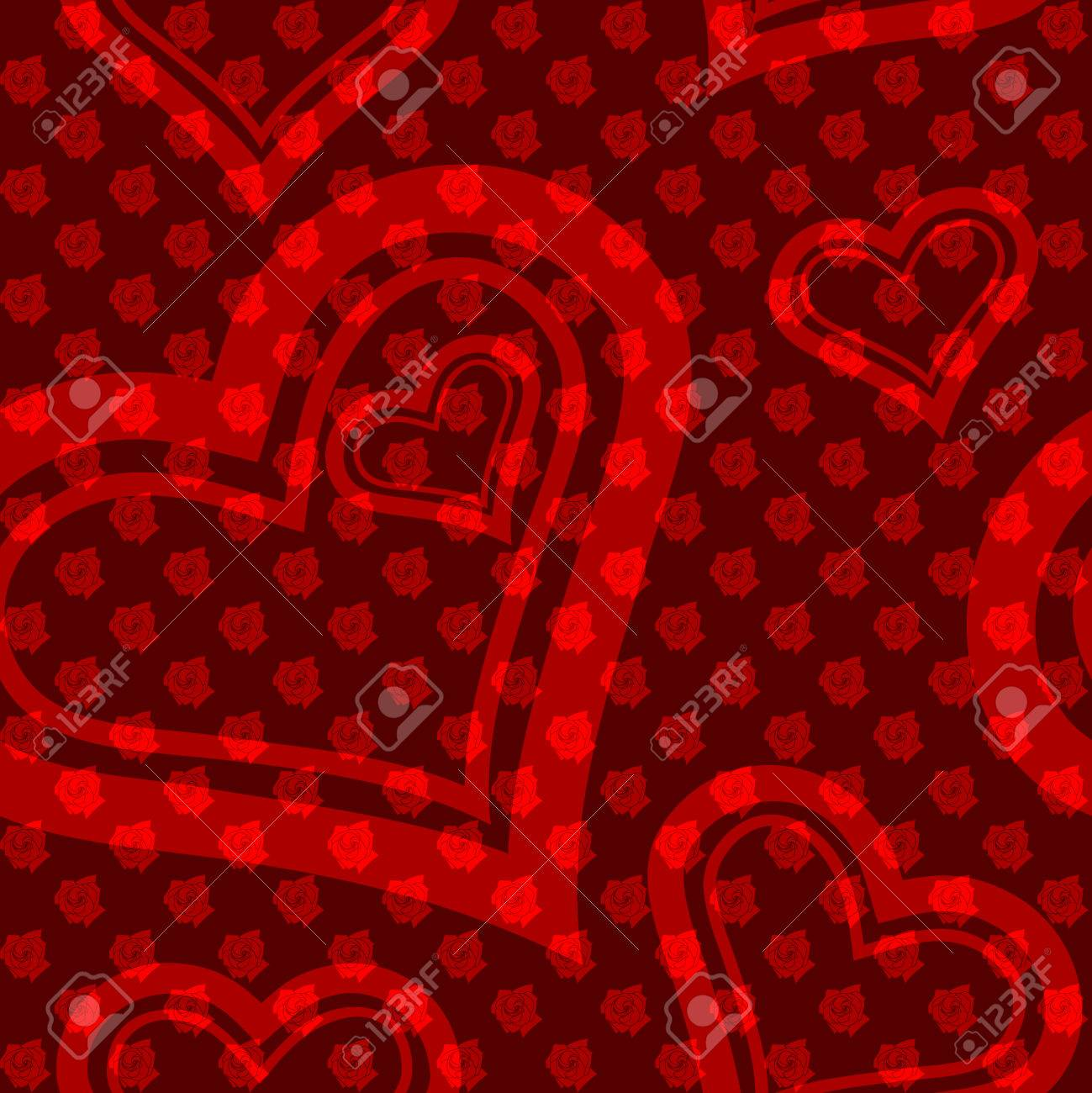 Detailed seamless pattern with small roses and heart-shaped cutouts. The tiles can be combined seamlessly. Graphics are grouped and in several layers for easy editing. The file can be scaled to any size Stock Vector - 4024560