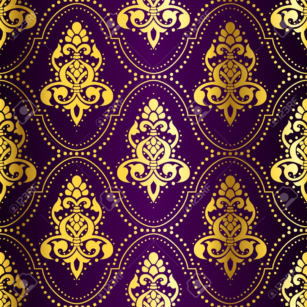 Gold-on-Purple seamless Indian pattern with dots. The tiles can be combined seamlessly. Graphics are grouped and in several layers for easy editing. The file can be scaled to any size. Stock Vector - 4177081