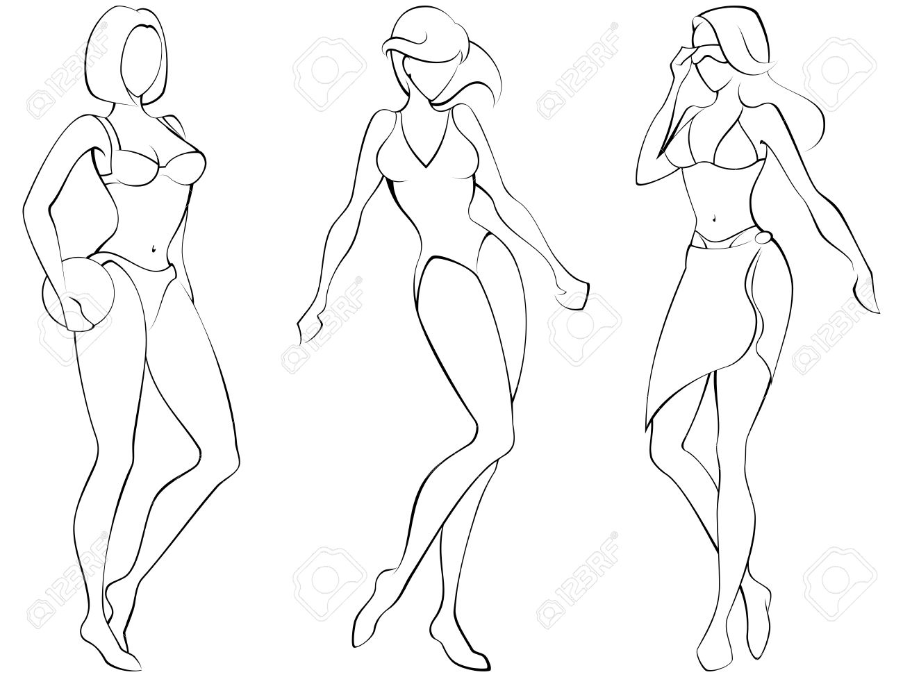 Sketch of three women in beach-wear. Graphics are grouped and in several layers for easy editing. The file can be scaled to any size. Stock Vector - 4257810