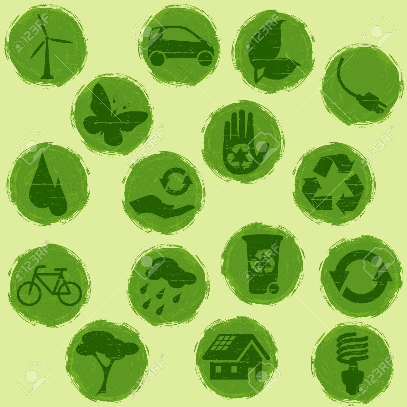 Collection of all-green environmental buttons, Graphics are grouped and in several layers for easy editing. The file can be scaled to any size. Stock Vector - 4635566