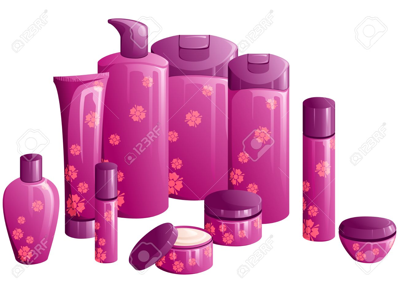 Line Design Clipart Free : Line of beauty products with a purple flower design graphics