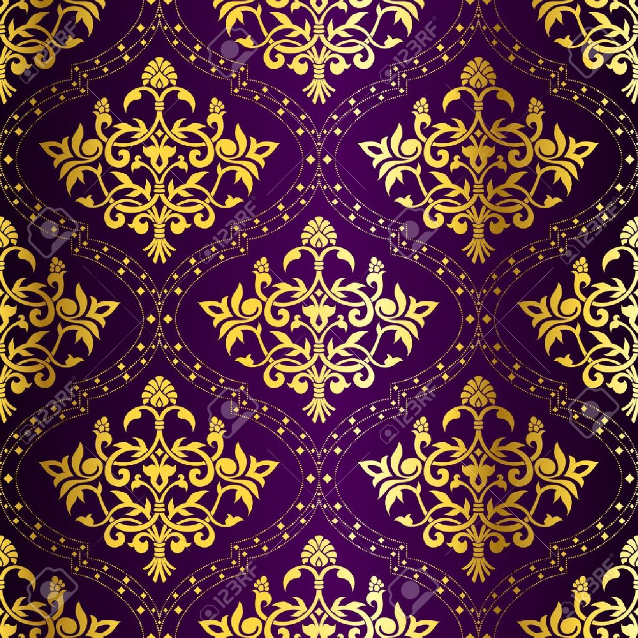 Gold-on-Purple seamless Indian floral pattern. The tiles can be combined seamlessly. Graphics are grouped and in several layers for easy editing. The file can be scaled to any size. Stock Vector - 4920146