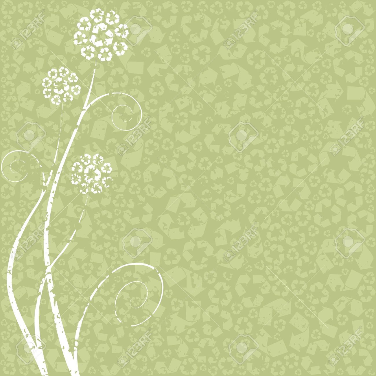 Light green grungy conceptual illustration of flowers made out light green grungy conceptual illustration of flowers made out of recycling symbols graphics are grouped biocorpaavc Gallery