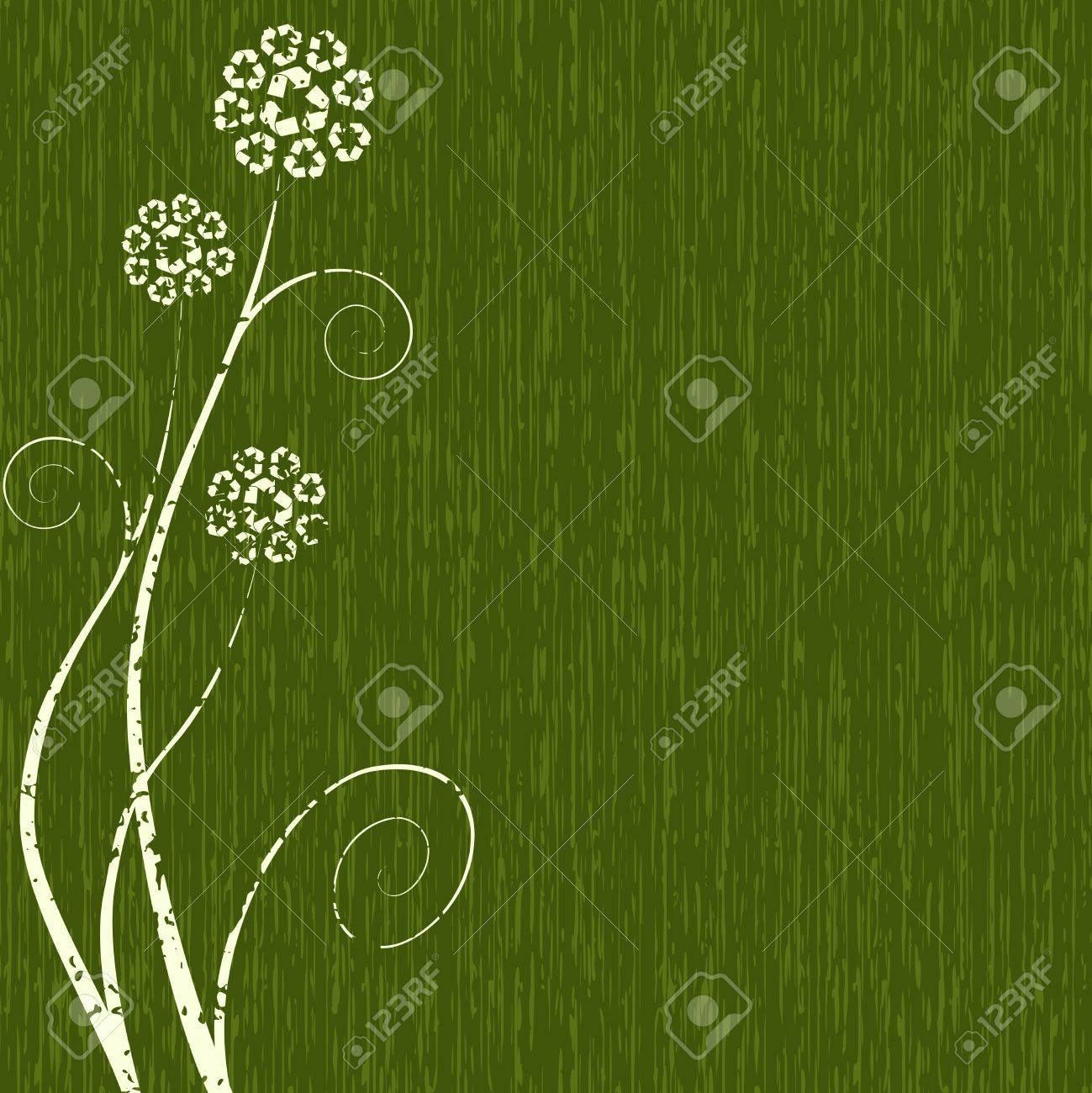 Dark green grungy conceptual illustration of flowers made out dark green grungy conceptual illustration of flowers made out of recycling symbols graphics are grouped biocorpaavc Gallery