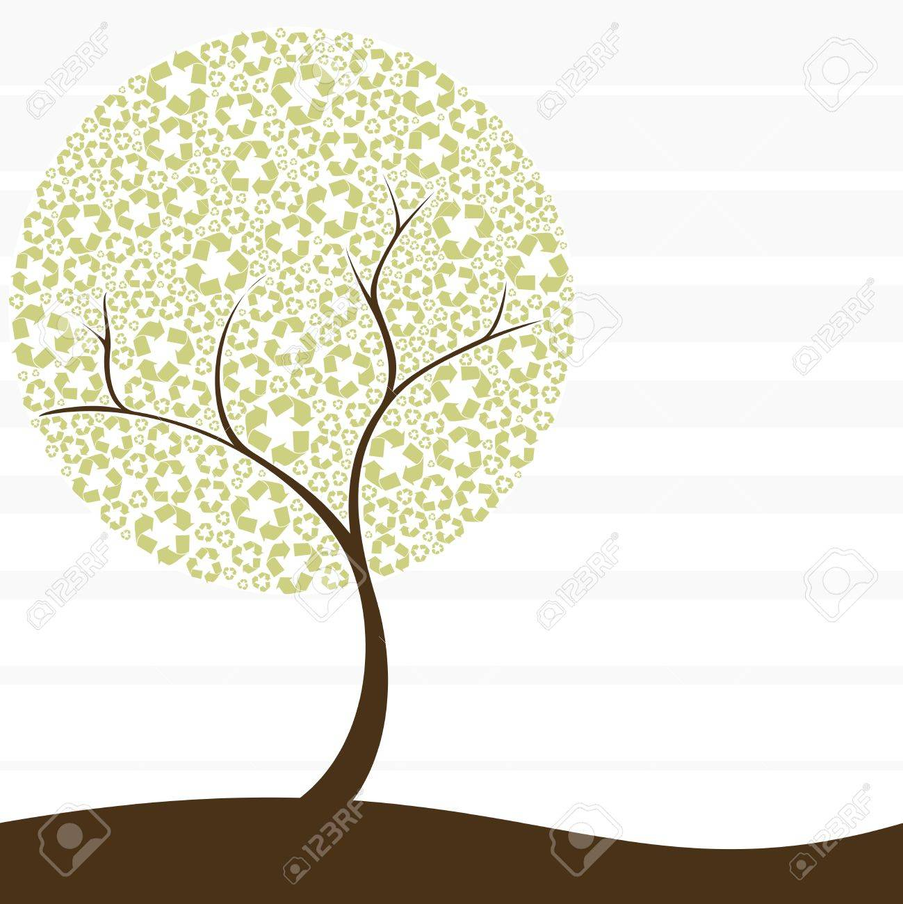 Conceptual illustration of a tree with recycling symbol leaves. Graphics are grouped and in several layers for easy editing. The file can be scaled to any size. Stock Vector - 4940799