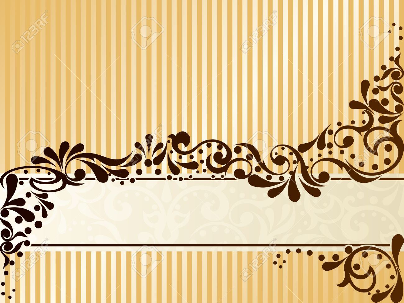 Elegant horizontal banner design inspired by Victorian era designs. Graphics are grouped and in several layers for easy editing. The file can be scaled to any size. Stock Vector - 5602189